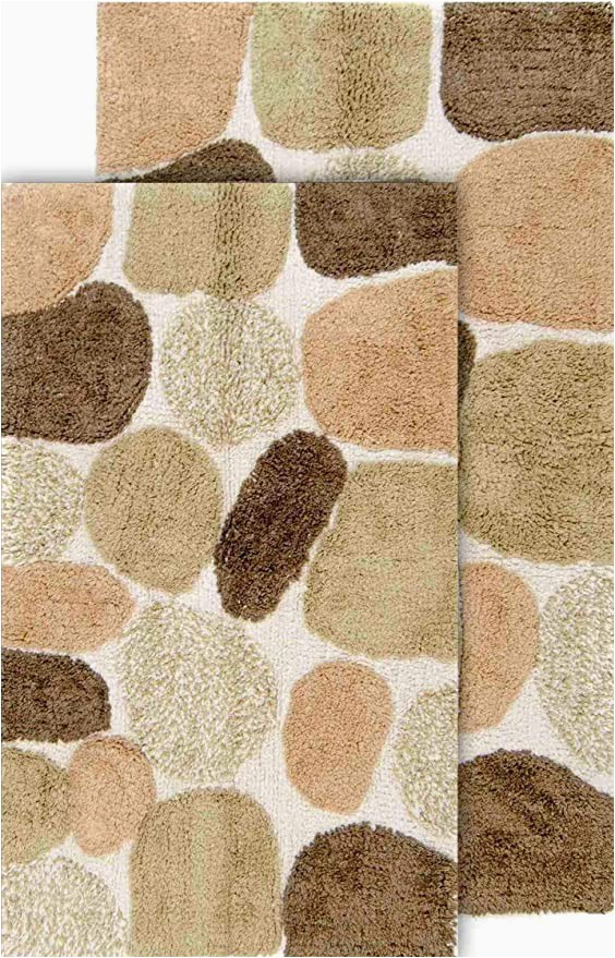 "Chesapeake Pebbles 2 Pc Bath Rug Set Chesapeake Pebbles 2pc Khaki Bath Rug Set 21""x34"" & 24""x40"""