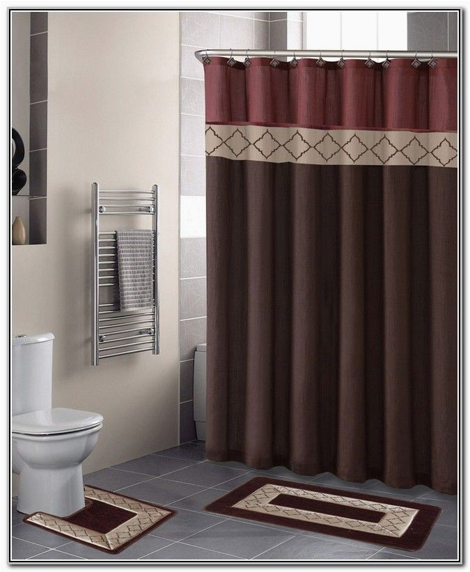 Contemporary Bath Rug Sets Bathroom Sets with Shower Curtain and Rugs