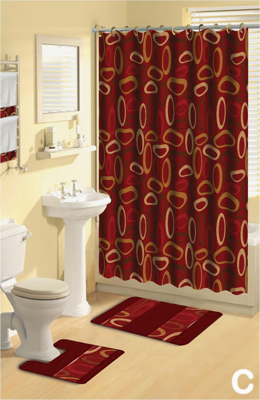 Contemporary Bath Rug Sets Details About Lattice Gray Black 17 Piece Bath Rug Shower Curtain Set with Hooks & towels