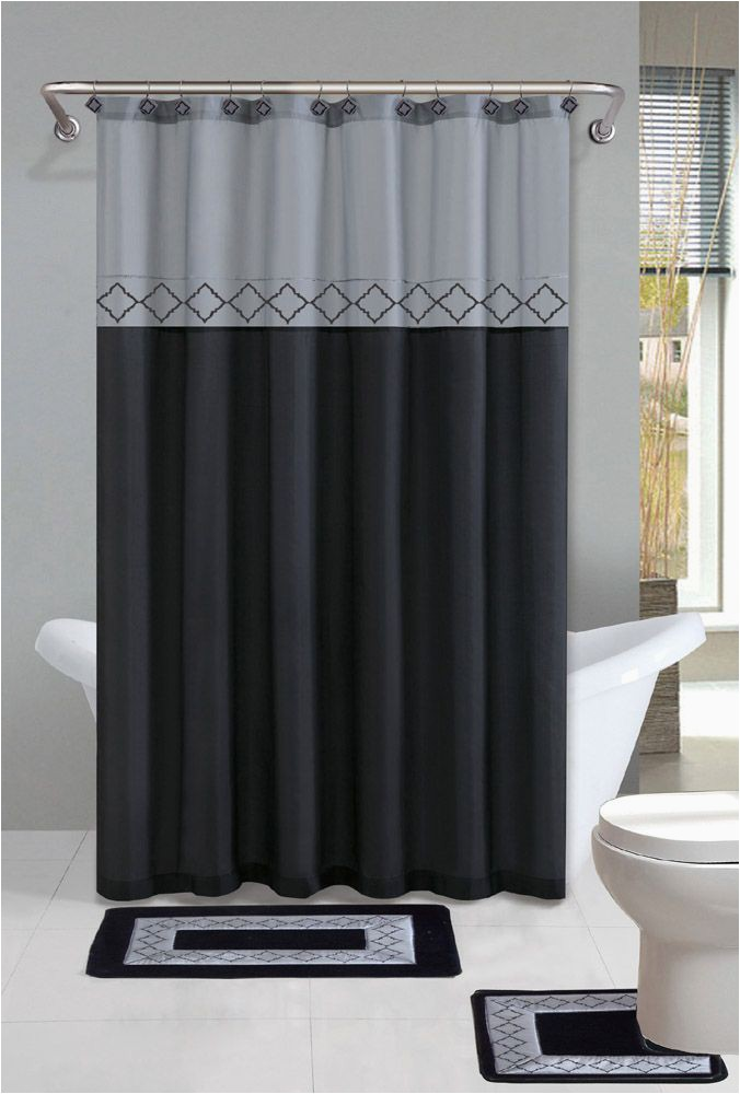 Contemporary Bath Rug Sets Gray Black Modern Shower Curtain 15 Pcs Bath Rug Mat Contour