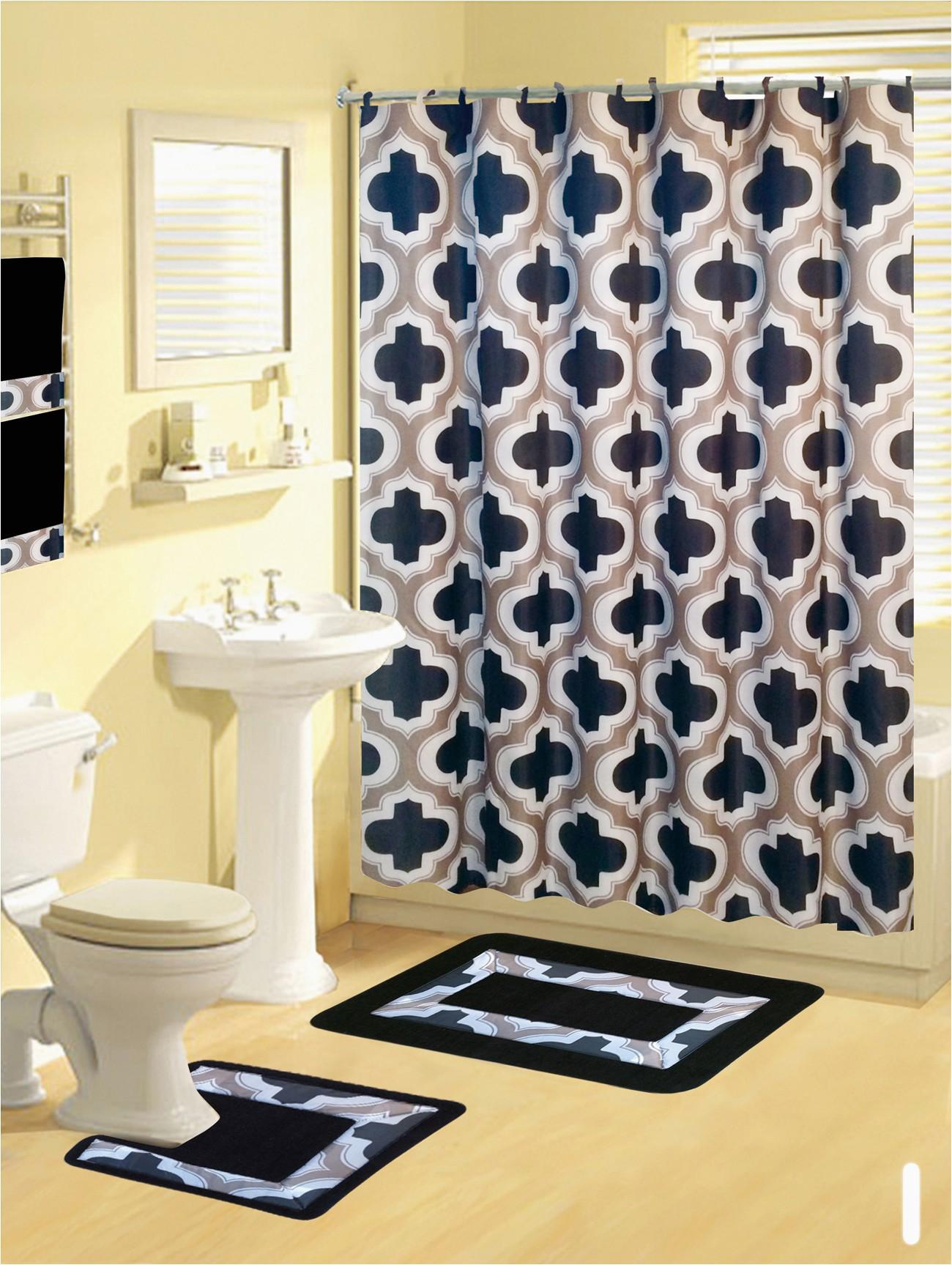 Contemporary Bath Rug Sets Shower Curtains 17 Pcs Set Contemporary Bath Mat Contour Rug Hooks Hand towels Walmart