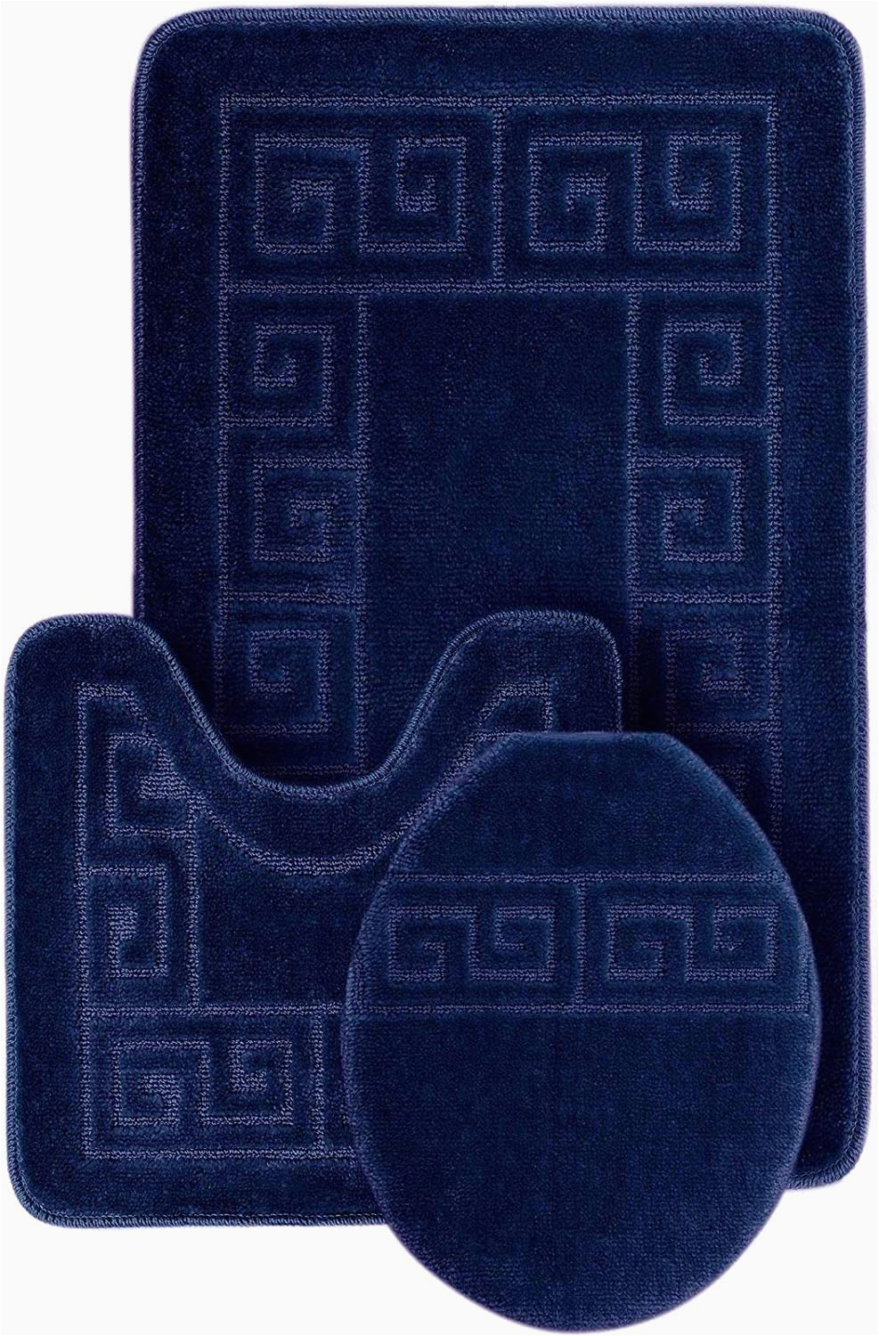 """Contemporary Bath Rug Sets Wpm World Products Mart Bathroom Rugs Set 3 Piece Bath Pattern Rug 20""""x32"""" Contour Mats 20""""x20"""" with Lid Cover Navy"""
