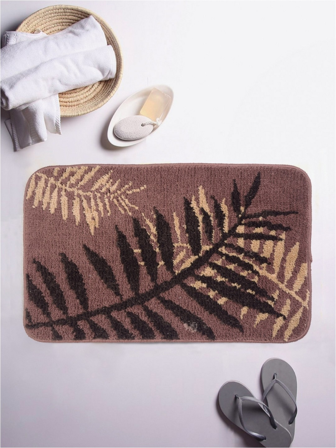 Romee Microfiber Bathmat 16 x 24 Set of 1 Dark Brown 1