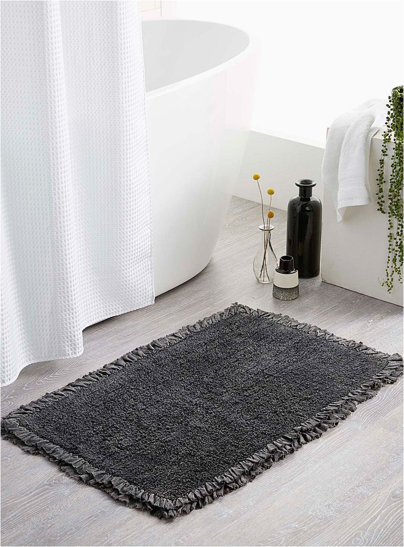 Dark Gray Bath Rugs Ruffle Bath Mat 50 X 80 Cm