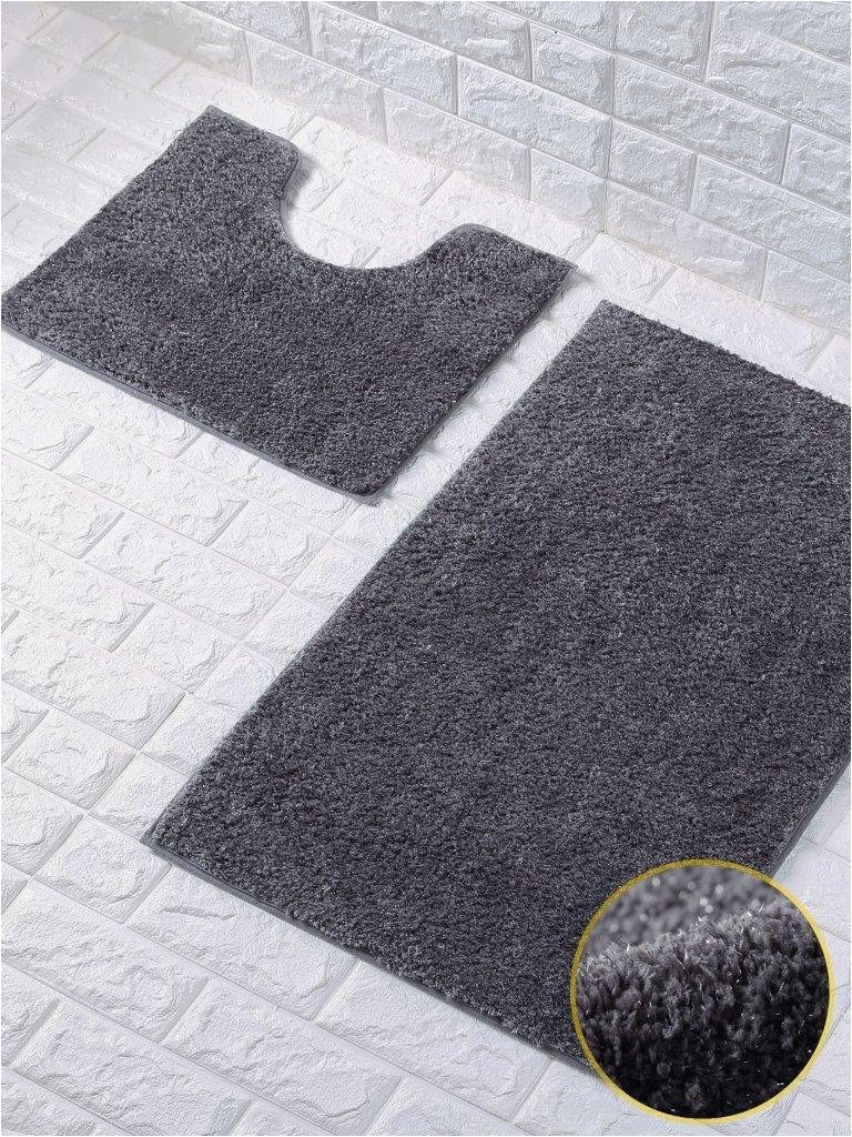 Dark Gray Bath Rugs Shiny Sparkling 2pcs Bath Mat Sets Non Slip Water Absorbent Bathroom Rugs Dark Grey by fort Collections