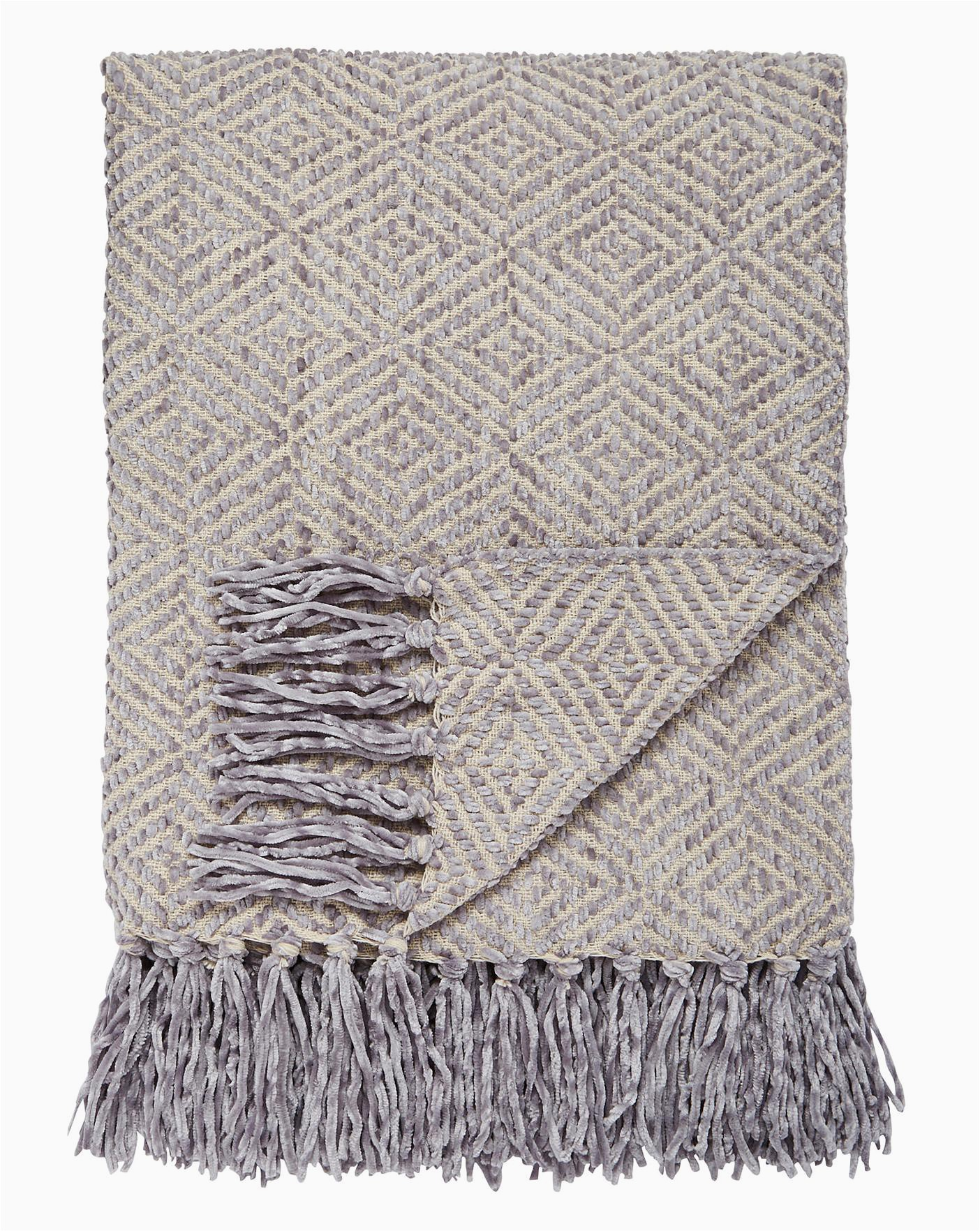 Dolce Home Luxury Chenille Bath Rug Cascade Diamond Chenille Throw