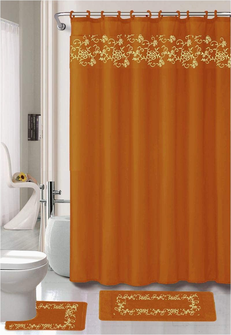 Gold Bath towels and Rugs to Match Fy Deal 18 Pieces Shower Curtain with Matching Fabric Hook Embroidery Bath Mat Contour Rug and towel Set Brick