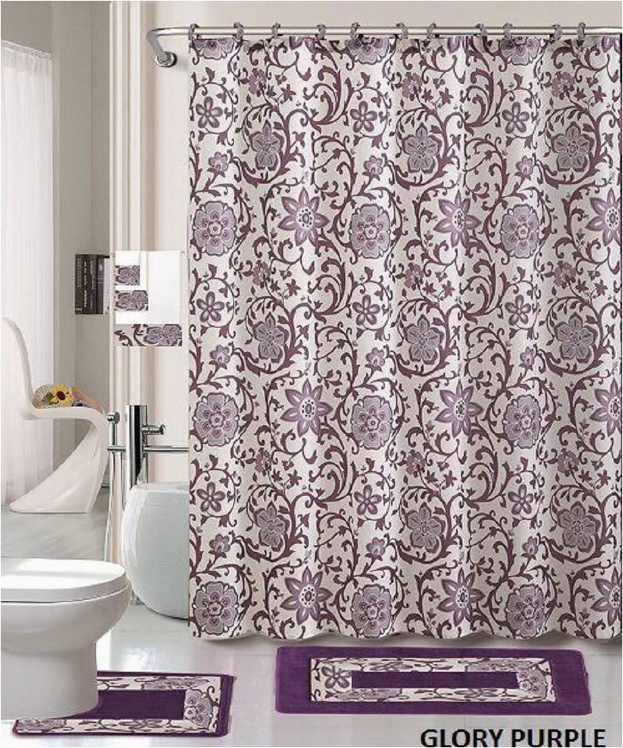 Grey Bath Rugs and towels 18 Piece Bath Rug Set Lavender Purple Silver Grey Print Bathroom Rugs Shower Curtain Rings and towels Sets Glory Purple Walmart