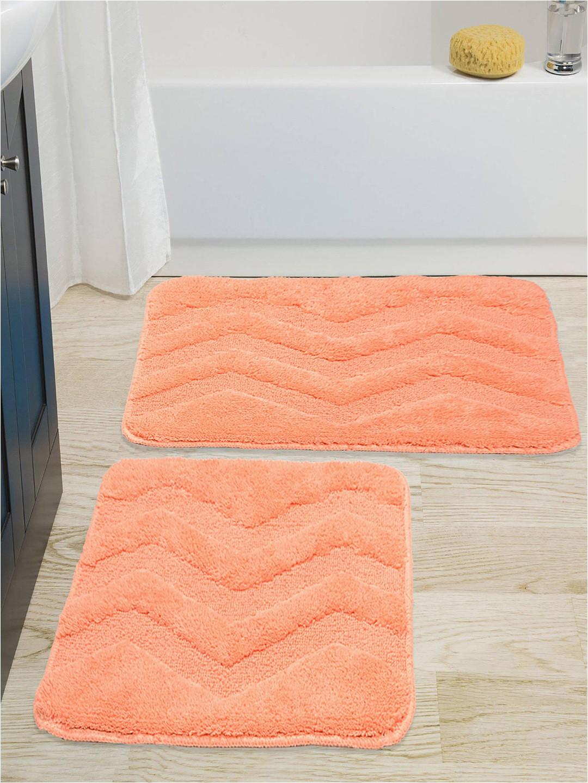 Grey Contour Bath Rug Saral Home Peach Coloured Cotton Bath Rug & Contour