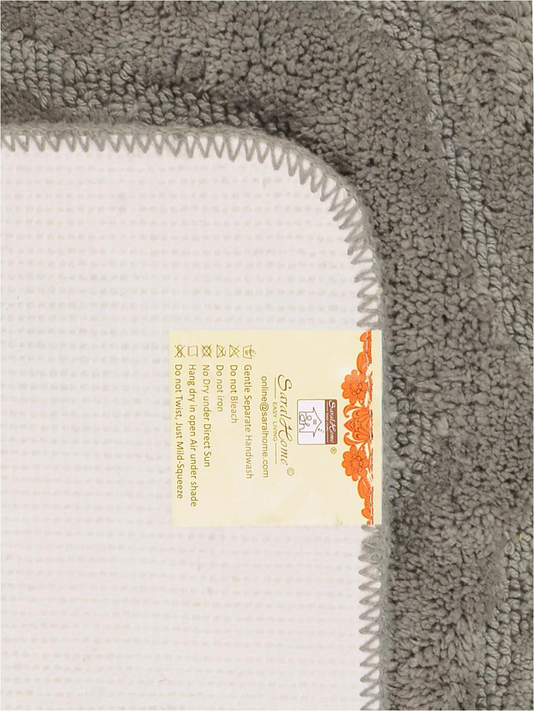 set of 2 grey bath rug contour