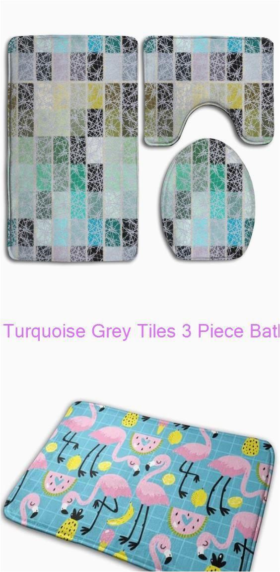 Grey Contour Bath Rug Turquoise Grey Tiles 3 Piece Bathroom Rugs Set Bath Rug