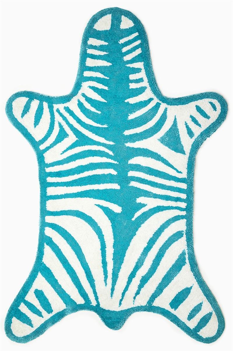 Turquoise Reversible Zebra Bathmat by Jonathan Adler