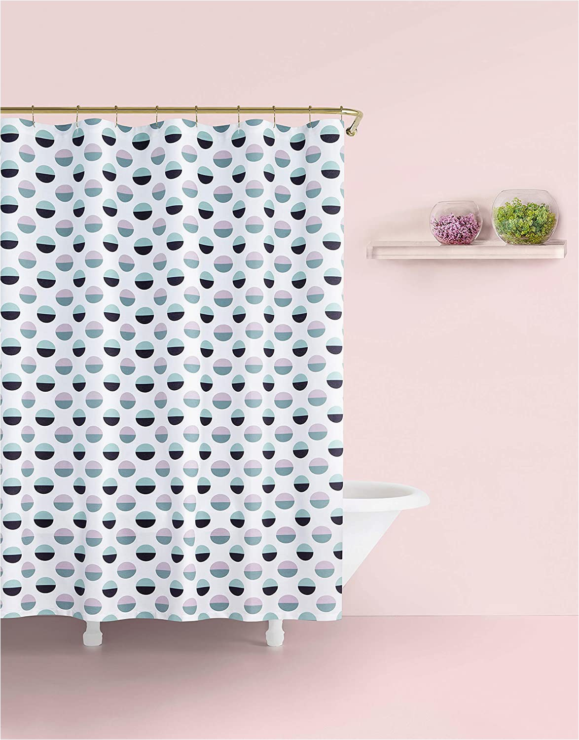 "Kate Spade Deco Dot Bath Rug Kate Spade New York Half Dot Shower Curtain 72"" White Navy Lavender Turquoise"