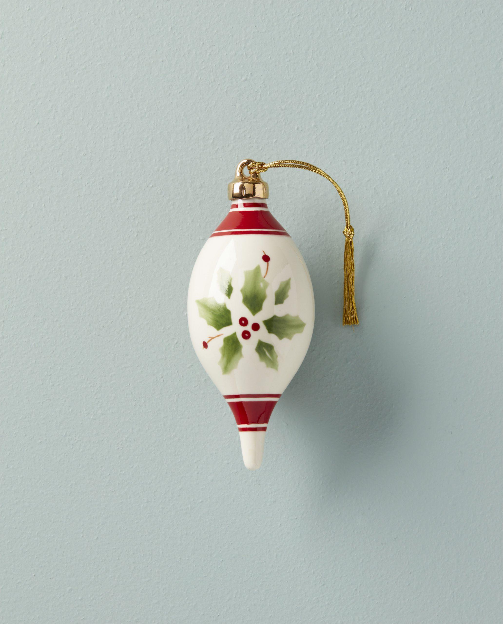 Lenox Holiday Bath Rug Holiday Hand Paint Stripe Spire Finial ornament