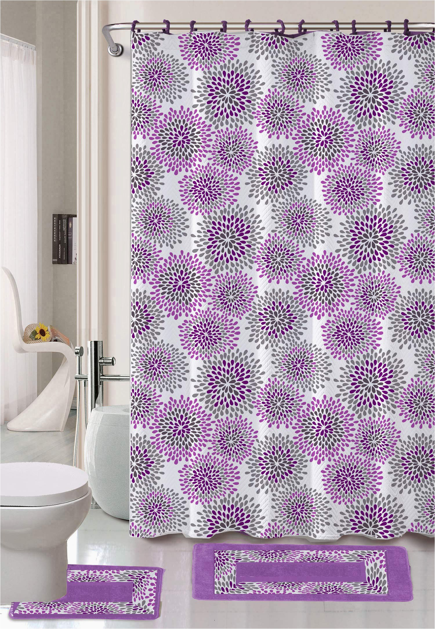 luxury home collection 15 pc bath rug set printed non slip bathroom rug mat and rug contour and shower curtain and rings hooks new lilac light purple