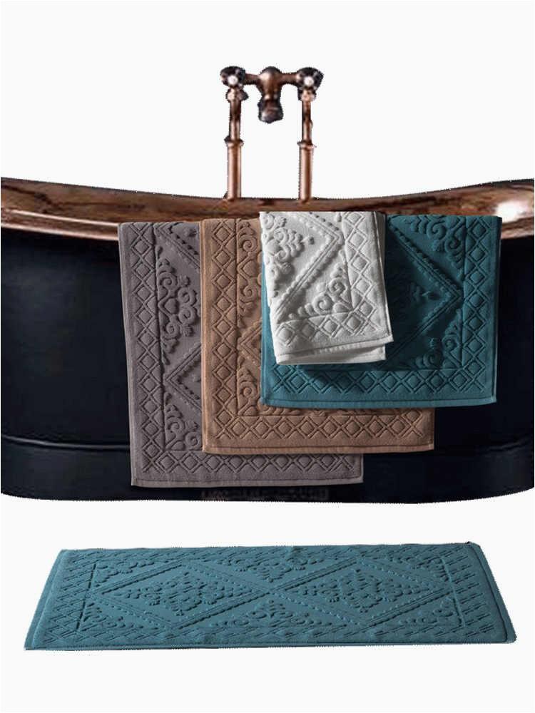 1pc Hotel Cotton Bath Mat Luxury Home Bath Rug Jacquard Towel Rug Thick Anti slip Doormat q50