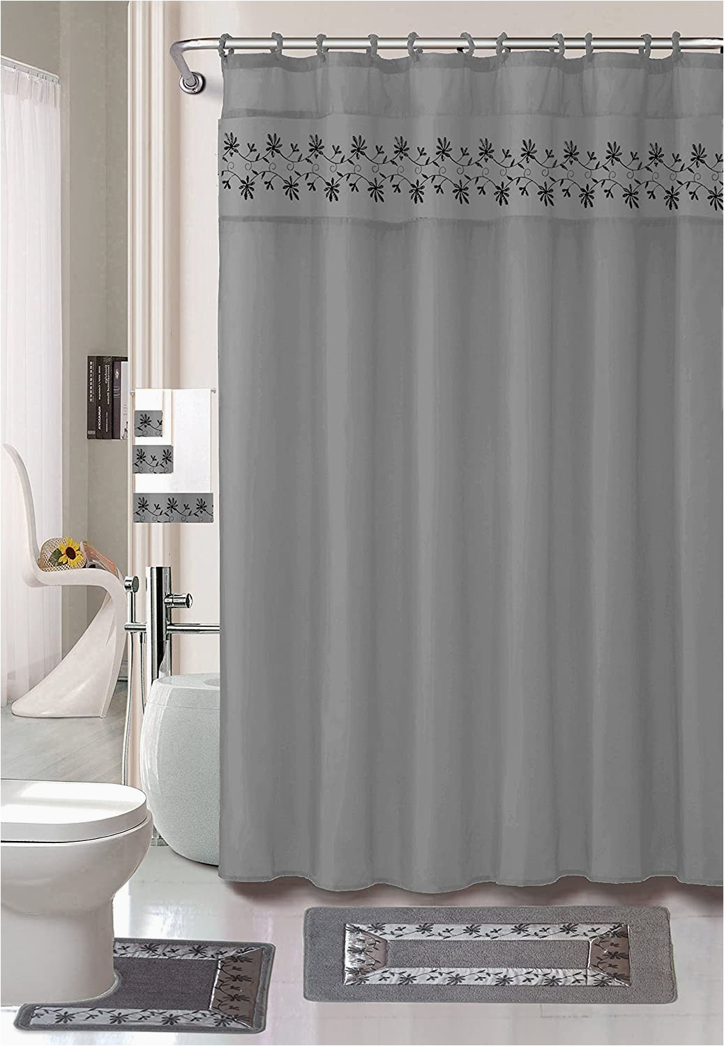 Luxury Bath Rugs and towels Luxury Home Collection 18 Pc Bath Rug Set Embroidery Non Slip Bathroom Rug Mats and Rug Contour and Shower Curtain and towels and Rings Hooks and