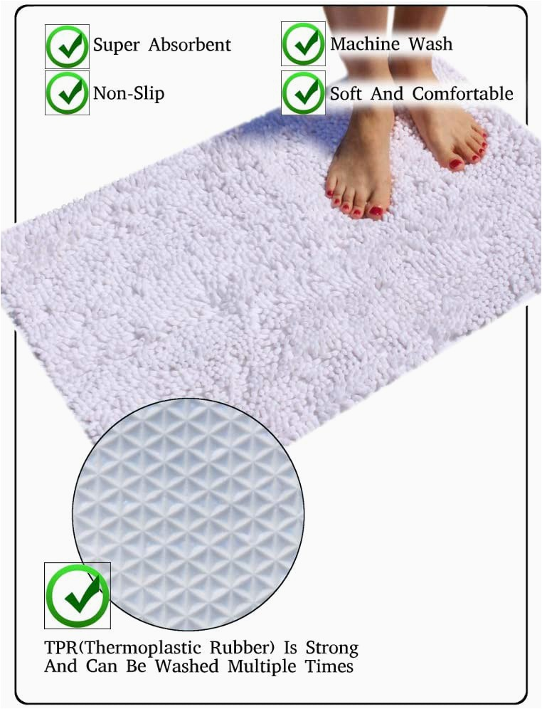 Madison Park Signature Marshmallow Bath Rug Masada Rugs Pure White Bath Mat Rug Shag Non Slip Ultra Plush Microfiber Chenille Highly Water Absorbent Durable and Washable for Bathroom 20 Inch