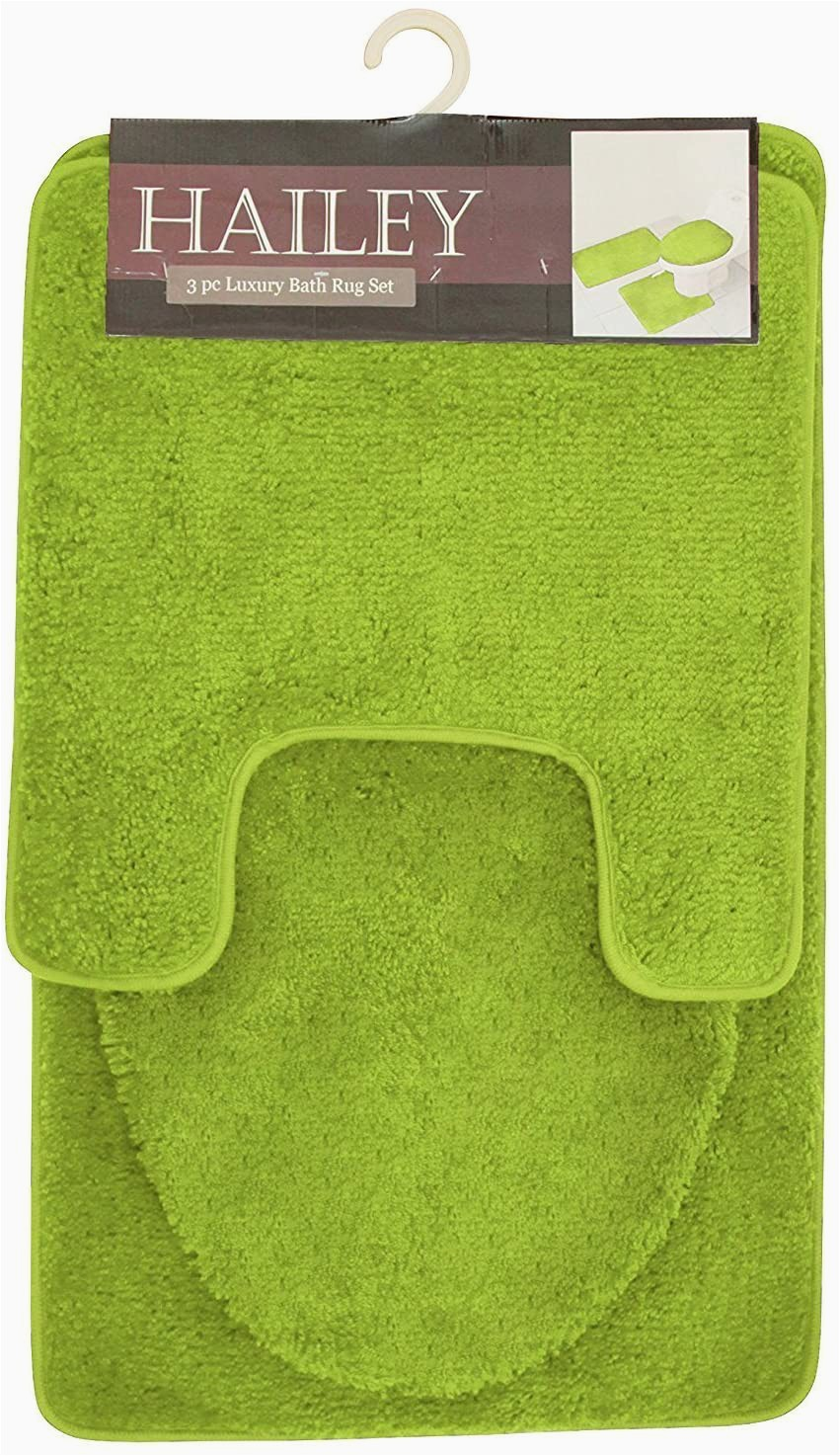Micro Plush Memory Foam Bath Rug Hailey 3 Piece Bath Rug Set Lime