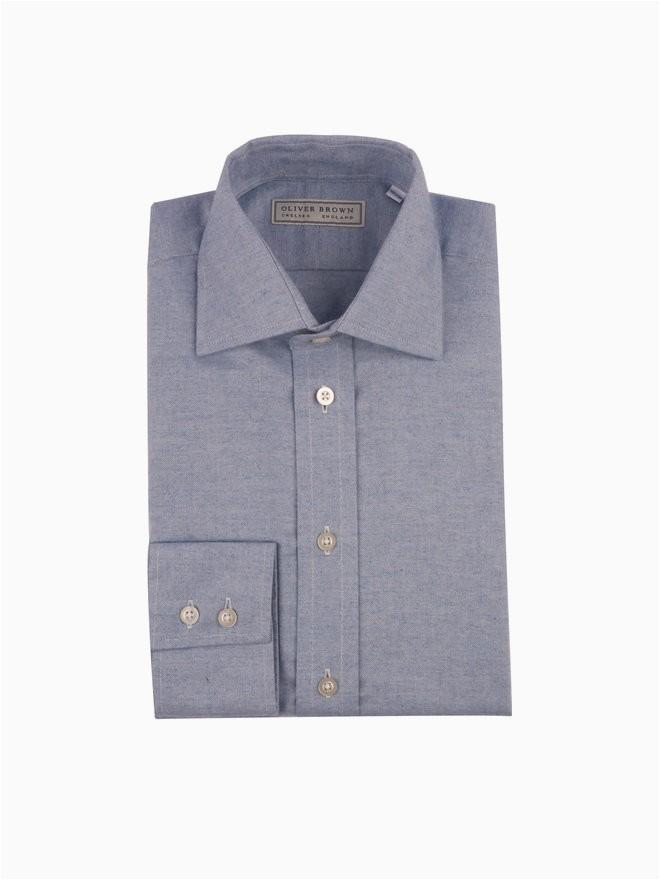 Oliver Brown London Bath Rugs Cashmere Blend Shirt Denim