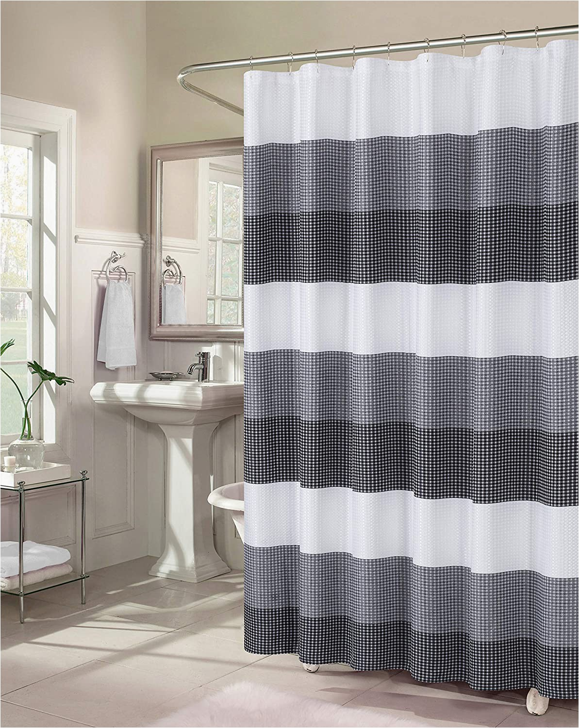 Ombre Stripe Bath Rug Dainty Home Waffle Weave Ombre Stripe Fabric Shower Curtain 70 Inch Wide X 72 Inch Long Textured Black