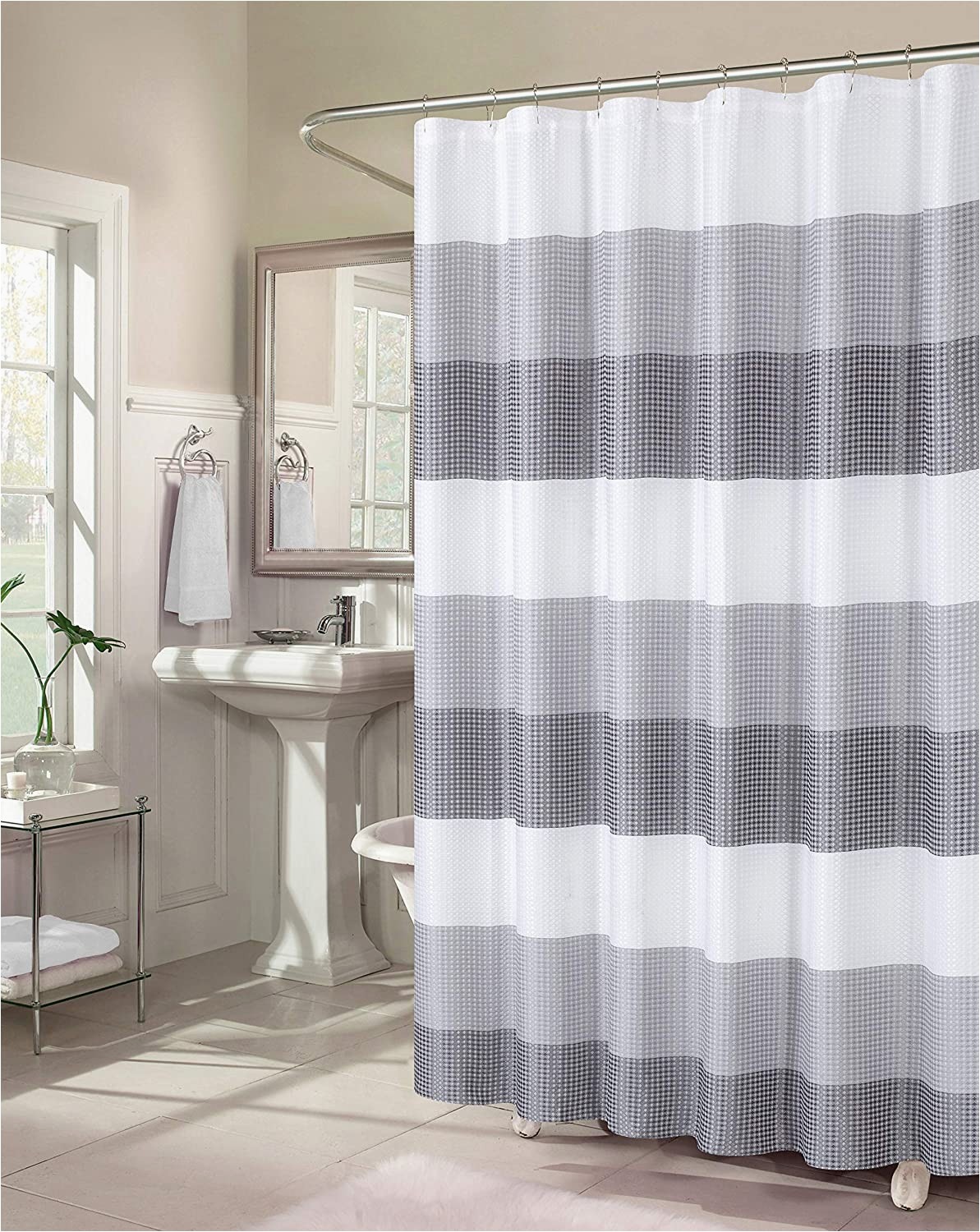 Ombre Stripe Bath Rug Dainty Home Waffle Weave Ombre Stripe Fabric Shower Curtains 70 Inches Wide X 72 Inches Long Grey Smoke