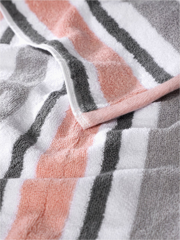 peach grey striped cotton 450 gsm bath towel