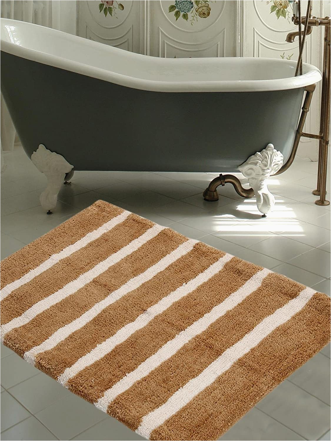Plush Bath Mats Rugs Warisi Bold Stripes Collection Designer Plush Microfiber Bath Rug Beige Ivory