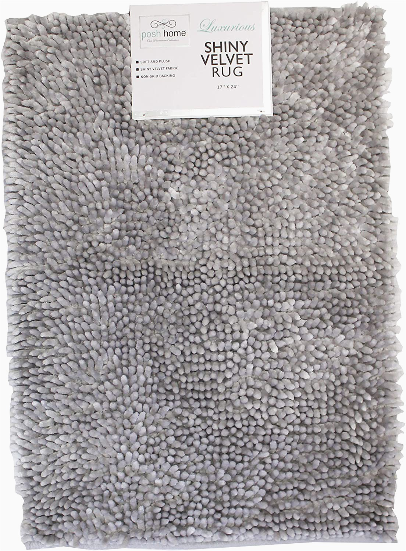 "Posh Luxury Bath Rug Posh Home Shiny Velvet Bath Washable Water Non Slip Absorbent soft Bath Mat 17"" X 24"" Silver"