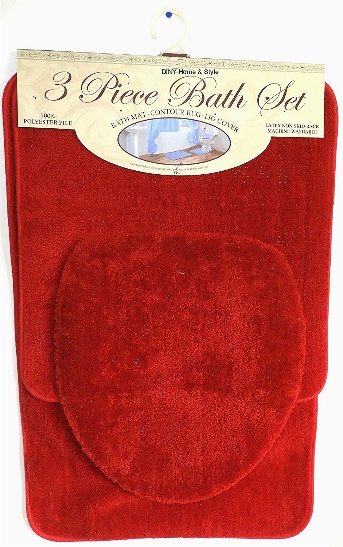 Red Bath Rug Set Buy Diny Home & Style 3 Piece Bath Rug Set Brick Red