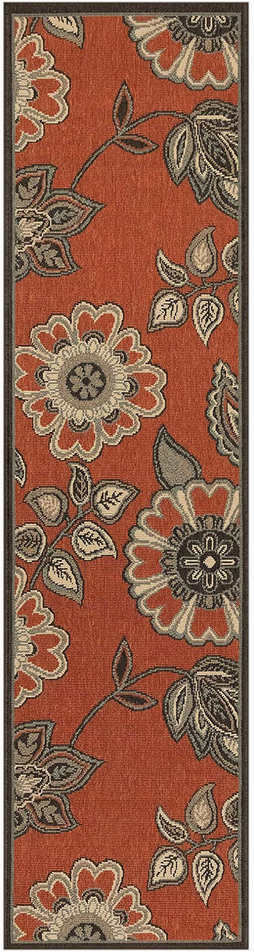 "Riviera Home Retro Bath Rug Liora Manne Riviera Modern foral Tile Indoor Outdoor Rug Vine 23"" X 7 6"" Red"