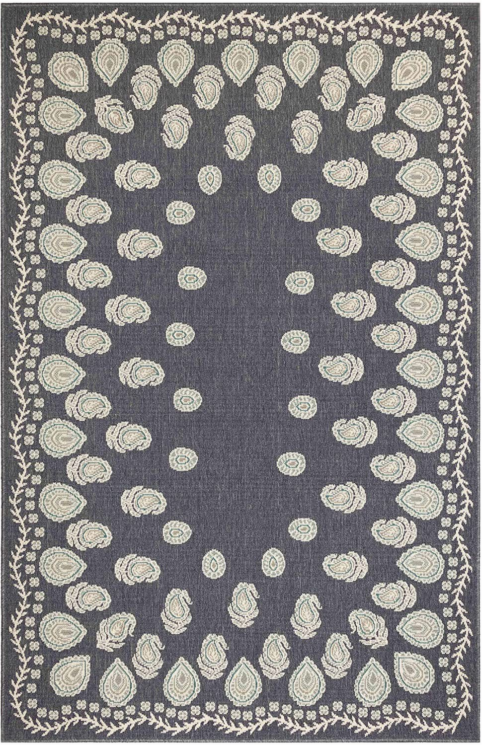 "Riviera Home Retro Bath Rug Liora Manne Riviera Tashi Indoor Outdoor Rug Navy 3 3"" X 4 11"""