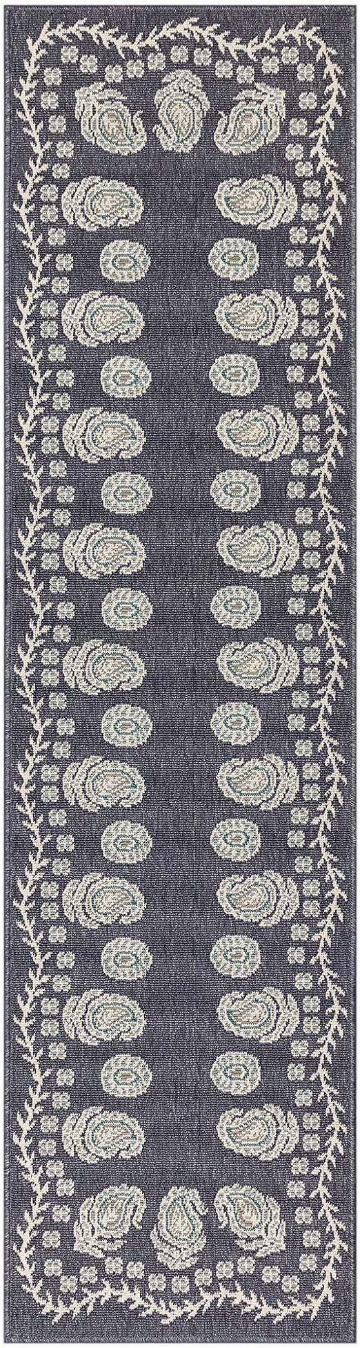 "Riviera Home Retro Bath Rug Liora Manne Riviera Tashi Indoor Outdoor Runner Rug Navy 23"" X 7 6"""