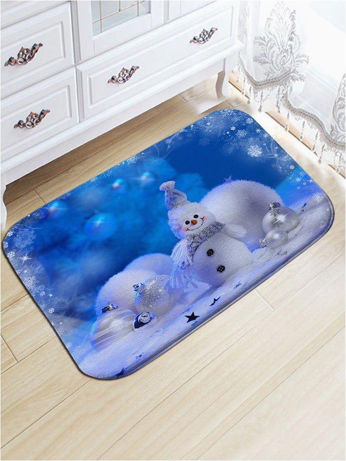 Round Christmas Bath Rugs Christmas Snowman Snowball Print Skidproof Flannel Bath Rug