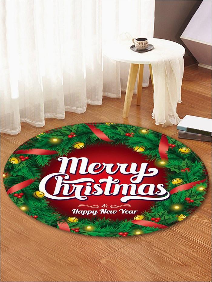 Round Christmas Bath Rugs Christmas Wreath Greeting Pattern Round area Rug