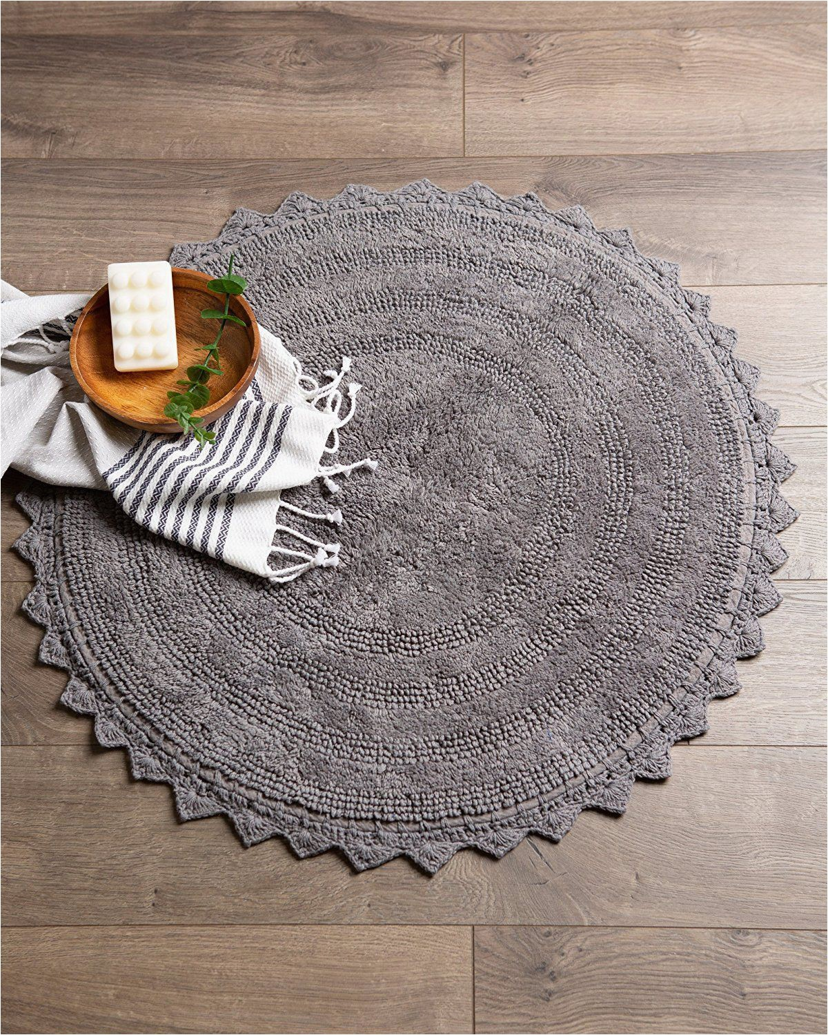 Round Gray Bath Rug Amazon Dii Ultra soft Spa Cotton Crochet Round Bath Mat