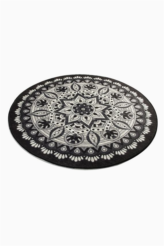 Round Gray Bath Rug Black & White Red Blue Brown Mandala Round Home Decor Bathroom Rug soft Bath Mat Eco Friendly Gift for Her Diameter 40""