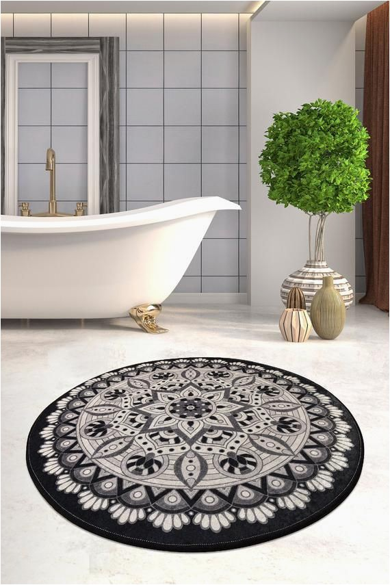 Round Gray Bath Rug Black & White Red Blue Brown Mandala Round Home Decor