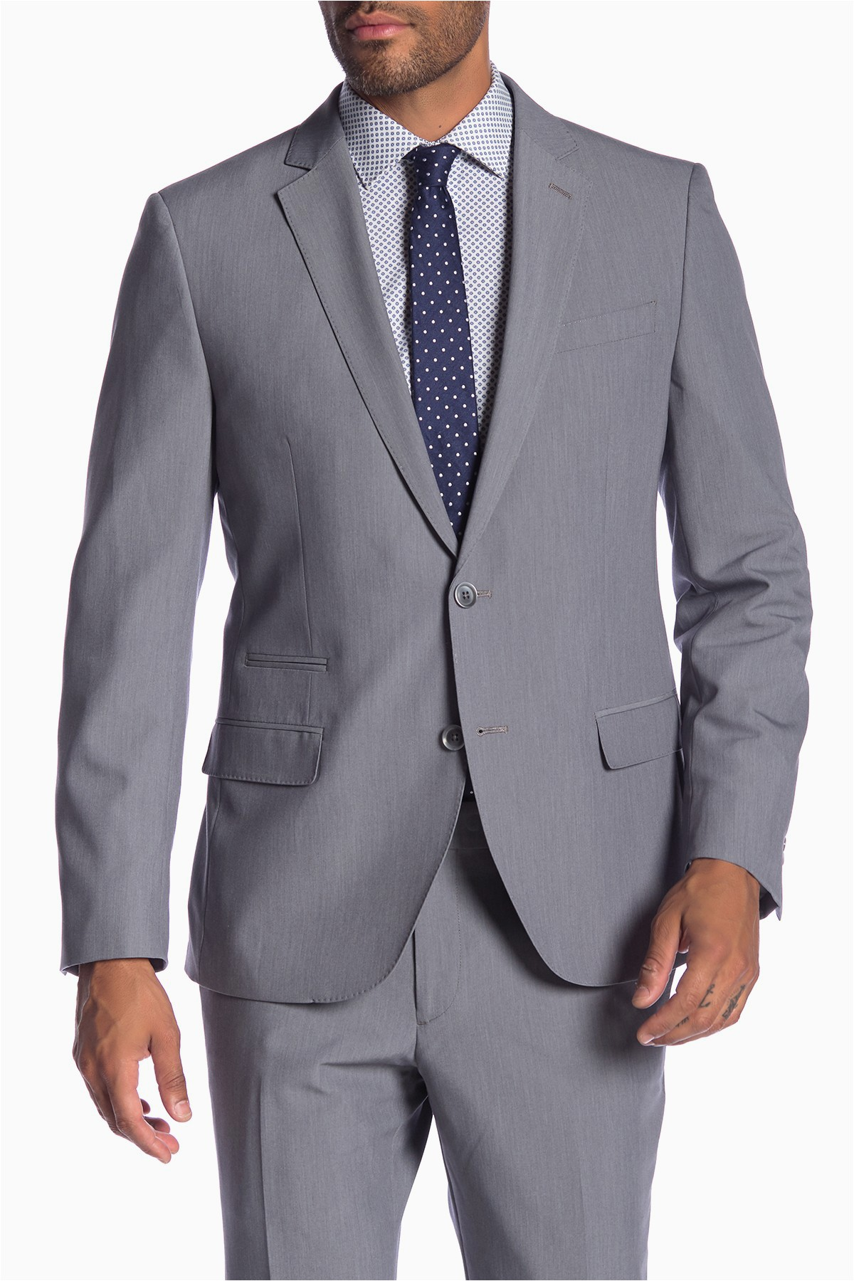 Savile Row Bath Rugs Savile Row Co Avedon Grey Two button Notch Lapel Slim Fit Bi Stretch Suit Separate Jacket