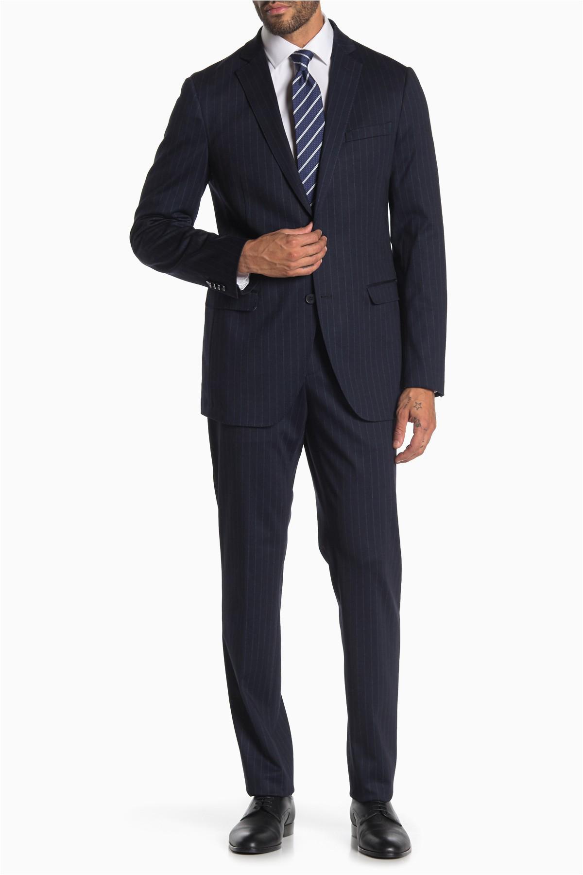 Savile Row Bath Rugs Savile Row Co Navy Pinstripe Two button Notch Lapel Knit Trim Fit Suit