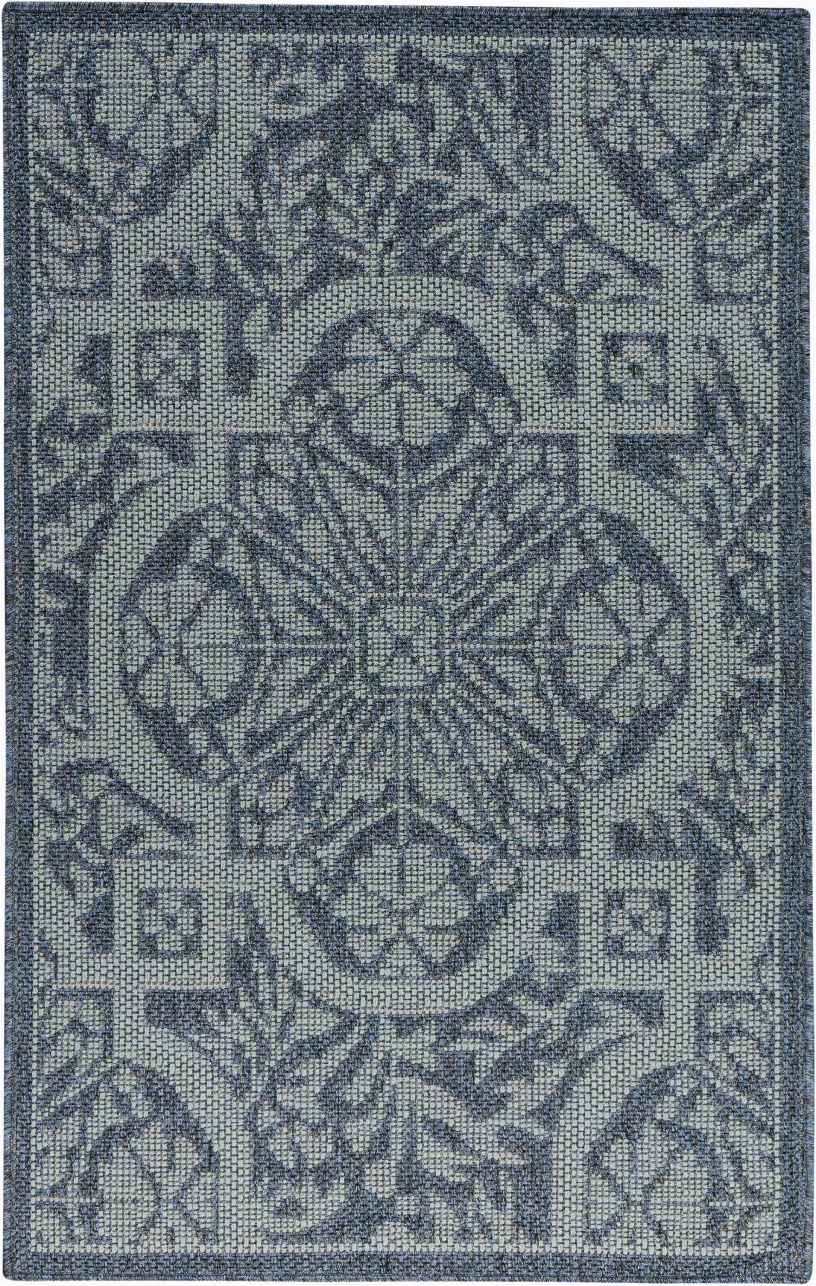 presswood geometric slate blue indoor outdoor area rug