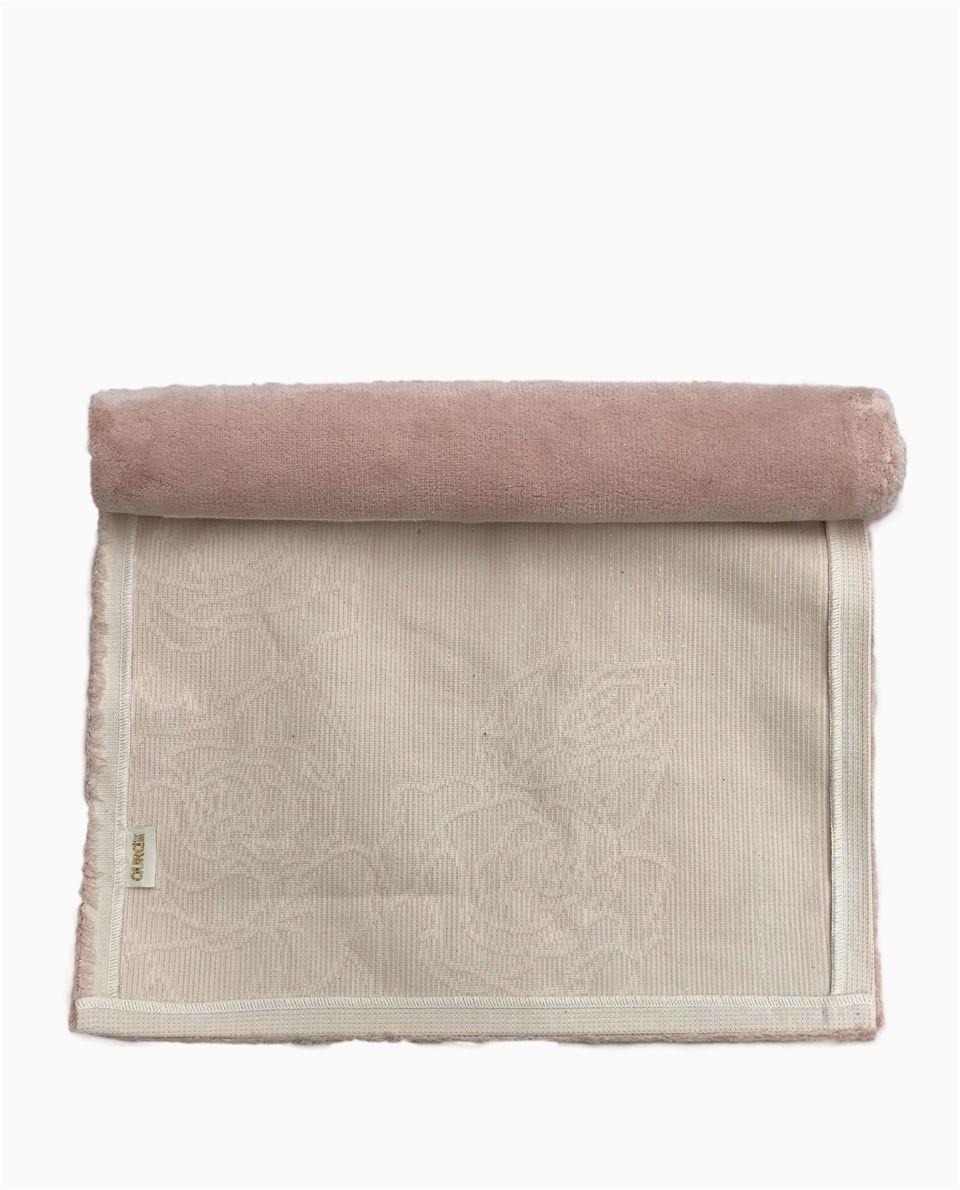 Elegant Turkish Cotton Bath Rug Pink 2