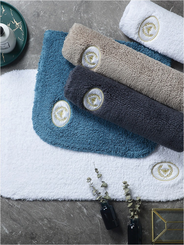 Turquoise Bath towels and Rugs Cotton Terry Bath Mat Bathroom Floor Blue towel Carpet Water