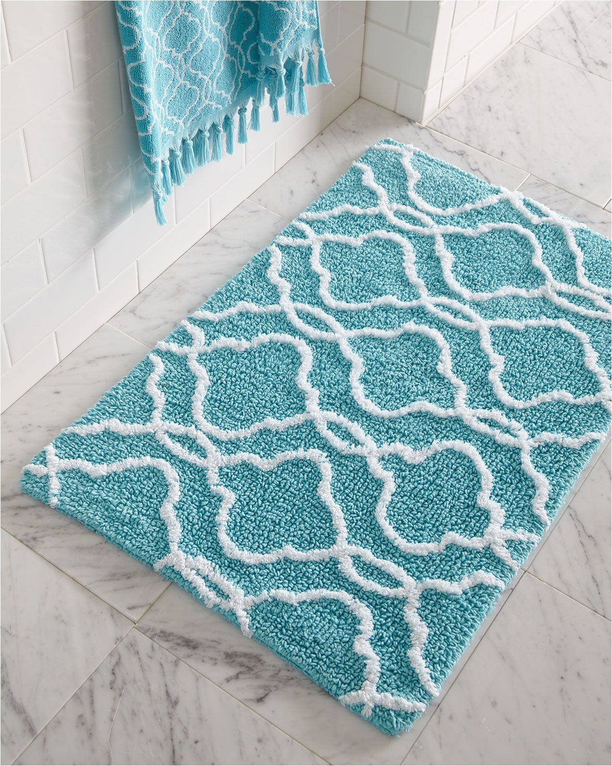 Turquoise Bath towels and Rugs Dena Home Tangiers Bath Rug