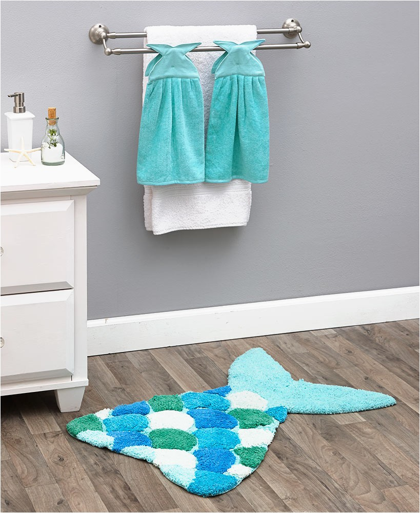 Turquoise Bath towels and Rugs Mermaid Tail Bath Rugs or towels