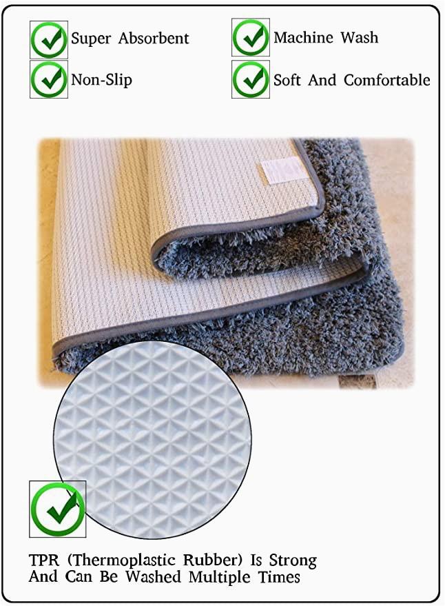 Ultra Thin Bath Rug Masada Rugs Gray Bath Mat Rug Shag Non Slip Ultra Plush Microfiber Highly Water Absorbent Durable and Washable for Bathroom 20 Inch X 32 Inch