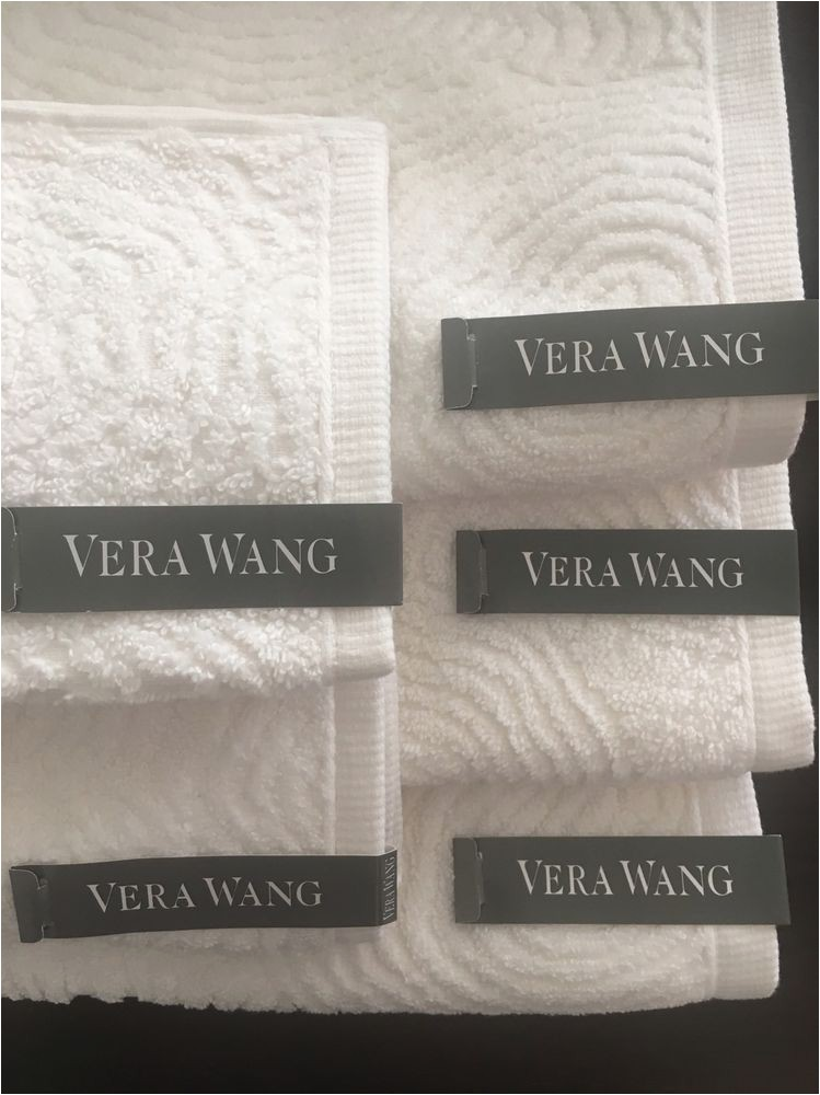 Vera Wang Bath Rug Diamond Vera Wang towels White Set Of 5 Cotton Verawang