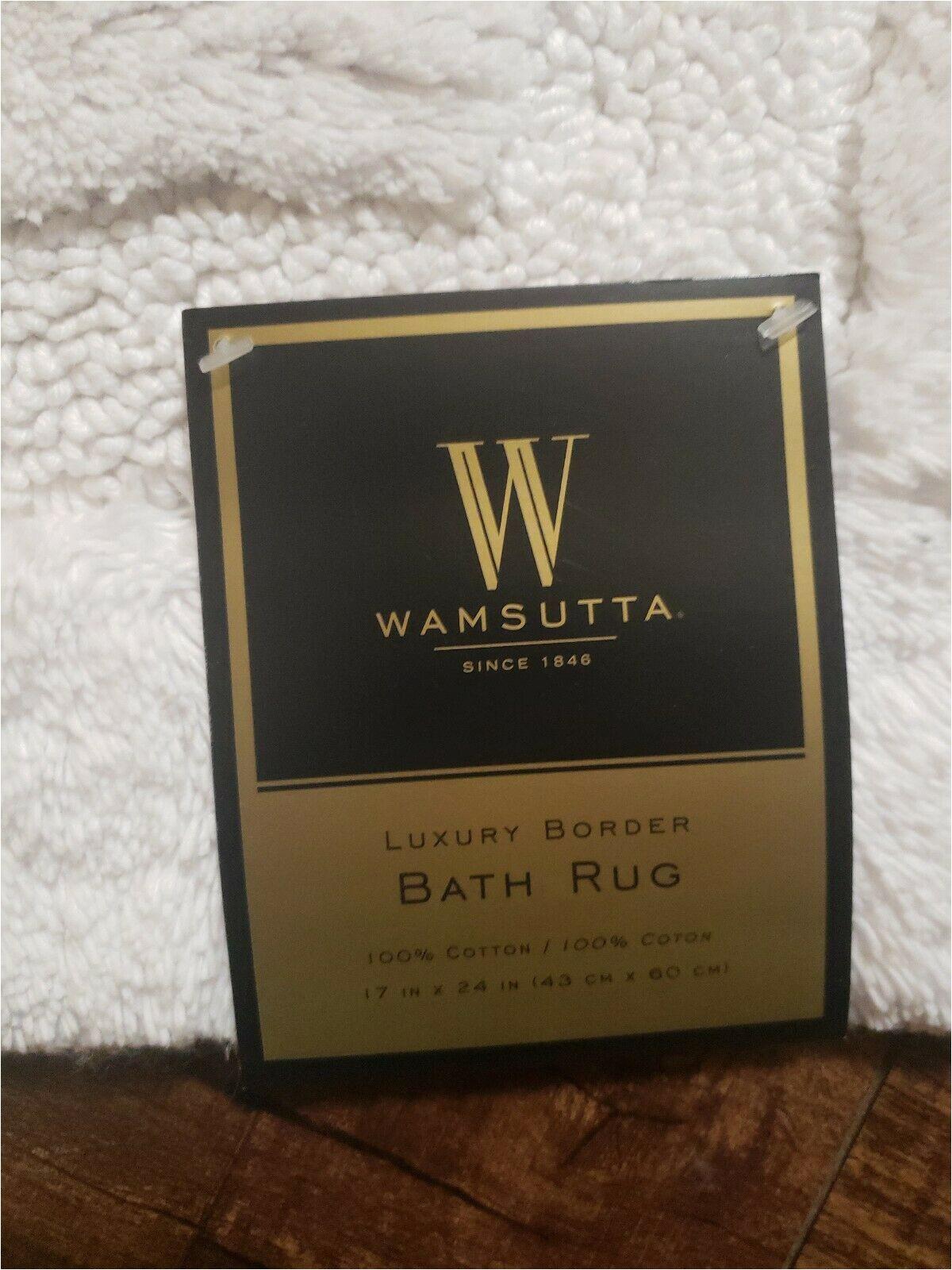 """Wamsutta Luxury Border Bath Rug Nwt Wamsutta Luxury Border Bath Rug 17""""x 24"""" White"""
