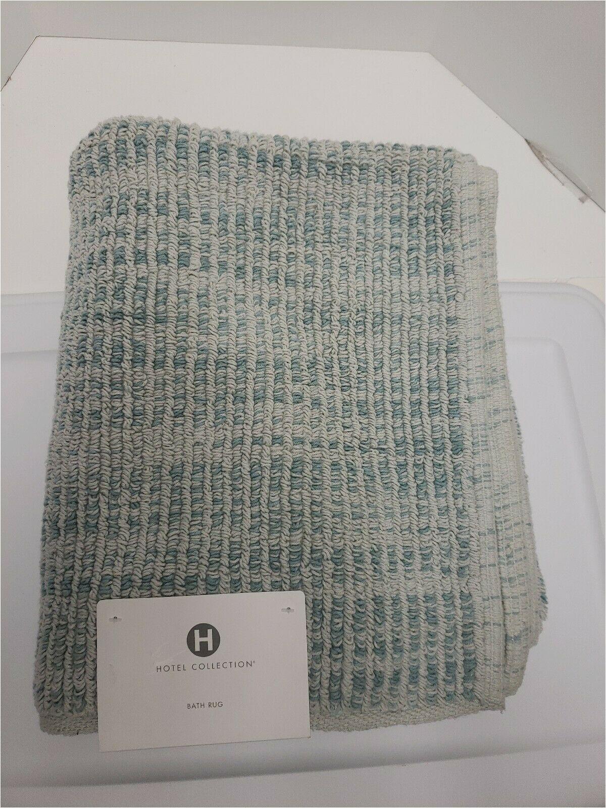 "Wamsutta Reversible Cotton Bath Rugs Hotel Collection Fashion 30"" X 50"" Textured Flat Weave Cotton Bath Rug Aqua"