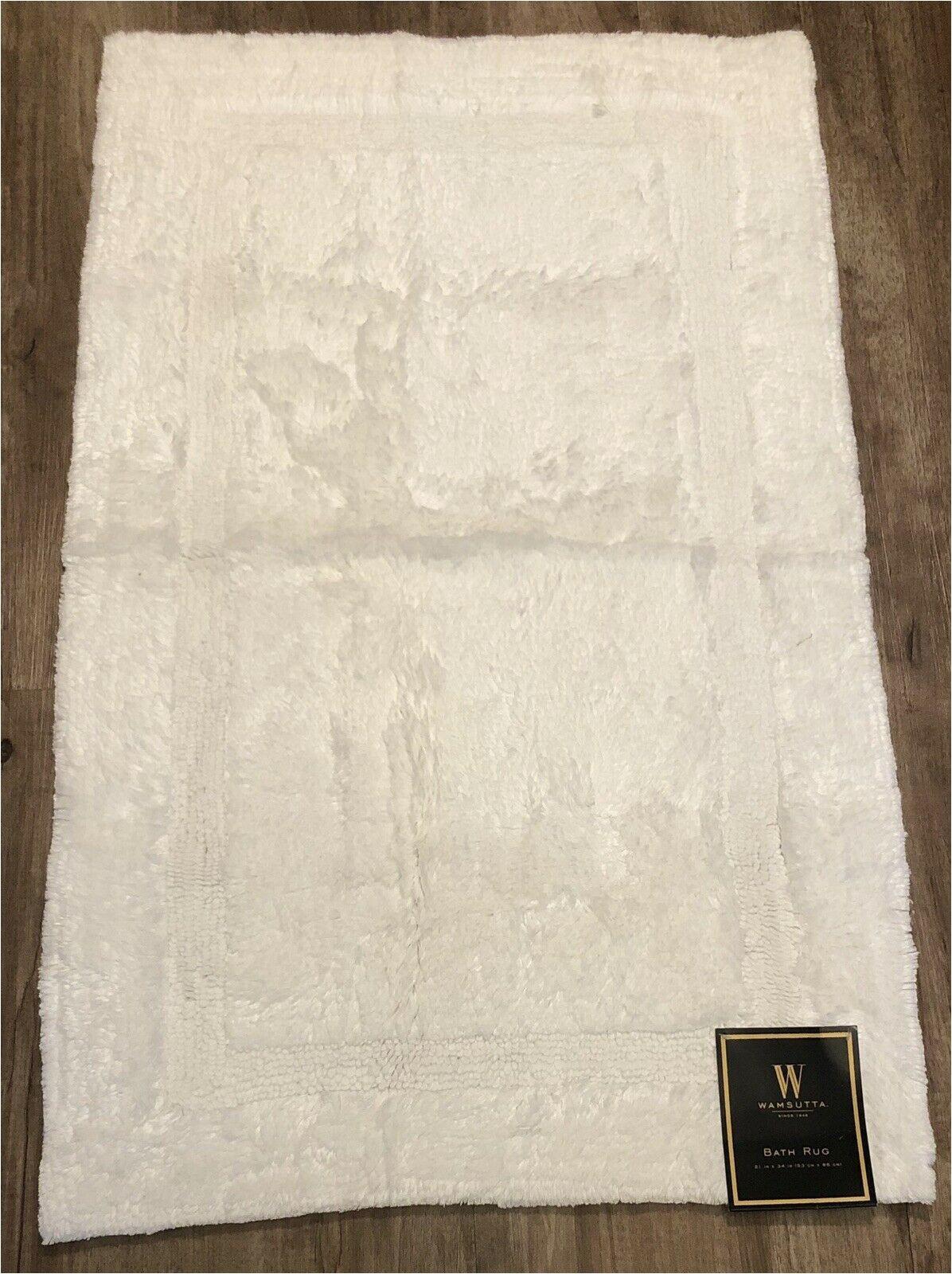 "Wamsutta Reversible Cotton Bath Rugs Wamsutta Plush Hotel Spa Bath Rug Mat 21"" X 34"" In White Bed Bath & Beyond New"